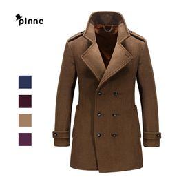 Wholesale Formal Overcoats - Wholesale- 2016 Brand Autumn Winter Keep Warm Fashion Overcoat Turn-down Collar High Quality Woolen Coat Luxury Men Formal Windbreaker