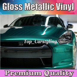 Wholesale Candy Films - Emerald green Gloss Metallic candy Vinyl CAR WRAP FILM with air channel METALLIC Shiny Sticker Car styling cast film foil Size 1.52x20m Roll