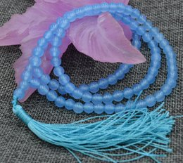 Wholesale Free Mala Beads - Women Gift word Love Free shipping Natural 6mm stone Buddhist Aquamarine 108 Prayer Beads Mala Bracelet Necklace AA