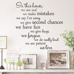 Wholesale Decorative 3d Wall Art Stickers - In The House Words Walls Art Plane Wall Saying Stickers Decorative Wall Stickers Vinyl Material Removable Home Decoration Wall Decals