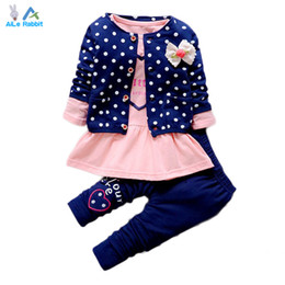 Wholesale Cute Bow Shirts - Wholesale- 2016 New Baby Girl clothing Sets kids 3PCS coat+ T shirt + Pants children Cute Princess Heart-shaped Print Bow baby girl outfits