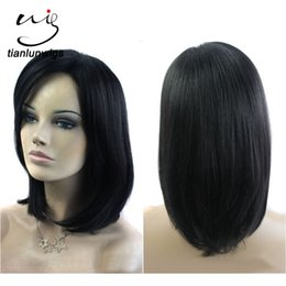 Wholesale Order Indian Human Hair - xintianlun 14 inch small quantity order short human hair wigs #1 color hair wig for black women