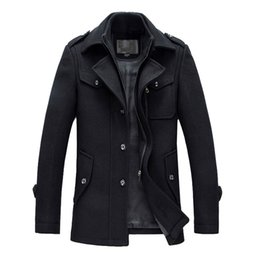 Wholesale Single Button Pea Coat - Wholesale- new arrival 2016 mens autumn and winter high quality basical wool blends jackets and coats single button pea coat