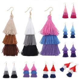 Wholesale Dangle Thread Earrings - 7 Color Bohemian Retro Exaggerated Colorful Earrings Multi-Layer Tassel Stud Earring Cotton Thread Female Earring B850L