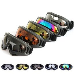 Wholesale Ski Goggles Orange - X400 UV Tactical Bike Goggles Ski Skiing Skating Glasses Sunglasses Windproof Dustproof With Elastic strap Cycling Eyewear A365
