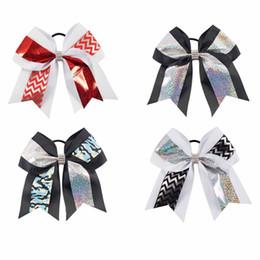 28 Unids / lote 7 Pulgadas Cheer Bow Con Cola de Caballo Bling Cheer Diamond Hair Bow Para Cheerleader Girl Accesorios Para el Cabello desde fabricantes