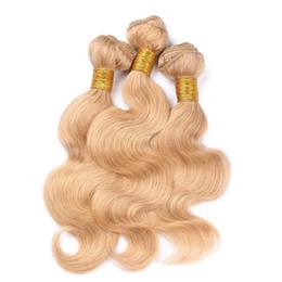 Mejor pelo libre de enredos de pelo online-La mejor calidad virginal brasileña Strawberry Blonde paquetes de cabello humano 3pcs onda del cuerpo # 27 Honey Blonde cabello humano teje extensiones enredo libre