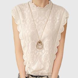 Wholesale Crochet Blusa - White Lace Top Sleeveless Shirt Women Summer Vintage Blusa Feminino Crochet Casual Loose Women For Blouse Tops Blouses