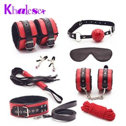 Wholesale Sexy Toys Handcuffs - Sexy 8 Pcs Set Kit Fetish Leather Sex Bondage Red Sex Toys for Couples,Nipple Clamps Foot Handcuff Ball Gag Whip Collar Eye Mask
