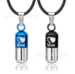 Wholesale Love Pills Capsule - Love 316L stainless steel pill capsule Korean men and women lovers titanium Pendant Necklace personalized jewelry free shipping