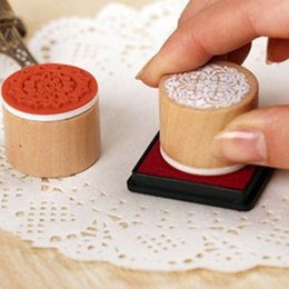 Wholesale New Lace Round Stamp - 600pcs=100set New sweet lace series wood round stamp   gift stamp   6 designs Wholesale DHL Free Shipping