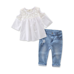Wholesale Clad Tube - Wholesale 2017 Kids Girls Denim Clothing Baby 2 Pieces Sets Children Summer Suits Tube Blouse And Jean Pants For 2-7T