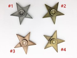 Wholesale Toy Metal Stars - New arrival Retro Star Fidget Spinner Aluminium Alloy Metal Hand Spinners Tri-spinner Finger Toys Anti Stress Toy Autism ADHD spinning top