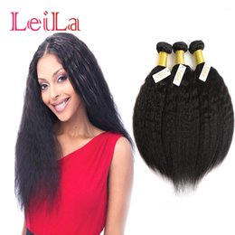 Wholesale Cheap Yaki Hair Weave - 6inch To 30inch Malaysian Cheap Unprocessed Human Hair Kinky Straight Bundles Coarse Yaki Three Pieces One Lot Double Weft Hair Extensions