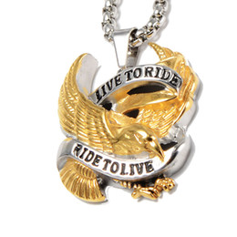 Wholesale Circle Eagle - hot sale stainless steel jewelry fashion Non-allergenic anti rust titanium steel Hip Hop Letter Eagle men designer pendant necklace