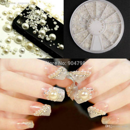 Wholesale Manicure Wheel - Wholesale-1set 3D Fashion Nail Art Tips Pearl Acrylic Glitter Manicure DIY Decoration Different Size Wheel Rhinestones