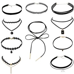 Wholesale Plastic Bibs For Necklaces - 2017 PU Leather And Lace Rope Chain Choker Necklace For Women Chokers Bib Collar Necklaces Chocker Colar Necklaces GY