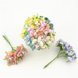 Wholesale Cheap Glass Displays - 6pcs lot Cheap Mini Silk Rose Artificial Flowers Bouquet With Glass Stamen Wedding Decoration For DIY Scrapbooking Fake Flower