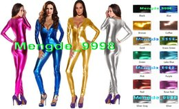 Wholesale Full Body Catsuit Black - Sexy V-Collar Costumes 15 Color Shiny Lycra Metallic Body Suit Sexy Women V-Collar Suit Catsuit Costumes Outfit Halloween Cosplay Suit M009