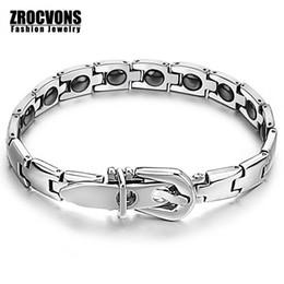 Wholesale Magnetic Healing - Wholesale- Fashion Bracelet Healing Stainless Steel Magnetic Bracelet Mosaic of 16 Natural Bio-magnetic Care Bracelet