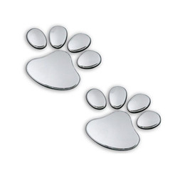 Wholesale Dog Footprint 3d Car Sticker - Cute 3D Chrome Dog Paw Footprint Sticker Decal Auto Car Emblem Decal Decoration Silver 10 PCS Lot Free shipping