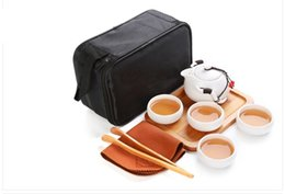 Wholesale Bone China Teapots - Handmade Chinese   Japanese Vintage Kungfu Gongfu Tea Set - Porcelain Teapot & 4 Teacups & Bamboo Tea Tray with a Portable Travel Bag