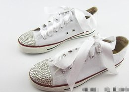 Wholesale Lady Shoes Style - New star white canvas shoelaces to help low-level women's shoes DIY fashion style diamond spark cartoon classic sail ladies canvas shoes