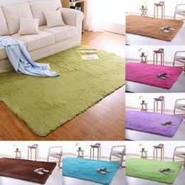 Wholesale shaggy bedroom rugs - Carpet Filiform Hair Ground Mat Skid Resistant Rug Rectangle Footcloth Fluffy Carpets Shaggy Area Rugs Living Room Bedroom 51 5af D R