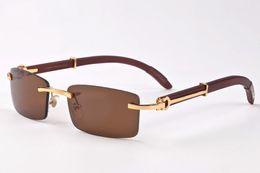 Wholesale Resin Wood - Classic buffalo wood plain mirror glasses fashion rimless rectangle men sunglasses lunettes de soleil size 55-18-140mm