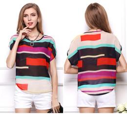 Wholesale Striped Dolman Tee - Fashion Summer Women's T-Shirt Thin Tops Tees Large size striped bat shirt Loose short-sleeved striped chiffon shirt 1340