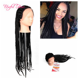 Wholesale Synthetic Wigs For Black Women - african american braided wigs box braids synthetic lace front wigs kanekalon synthetic wig braided wigs for black women marley twist