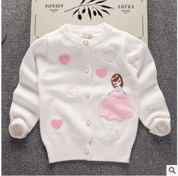 Wholesale Korean Cartoon Love - Kids princess cardigan girls core spun yarn love hearts cartoon outwears Korean style children long sleeve knitting cardigan C0974