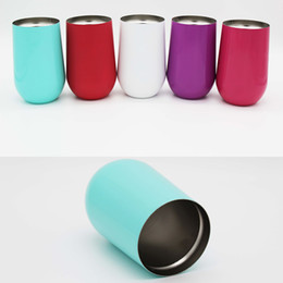 Wholesale Wholesale Travel Wine Glass - 16 oz Wine Glasses egg cup Stainless Steel Vacuum Insulated cups 6 color Travel mugs Wine cups with lid Stemless Cup DHL JU057