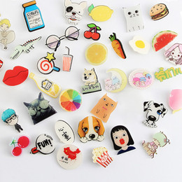 Wholesale Handbags Princess - Cute Badges Fashion Cartoon Acrylic Pin Badge Dogs Cherry Snow White Princess Brooch Pin Set Female Male Handbags Clothing Accessories