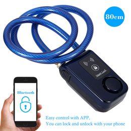 2019 allarme antifurto casa New Super 80cm Intelligent Phone APP Control Smart Alarm Bluetooth Lock Waterproof 110dB Alarm Bicycle Lock Outdoor Anti Theft Lock