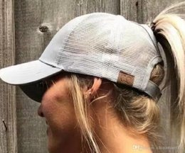 Wholesale Christmas Pony - 2017 Hot Sell Women ponytail baseball hat Fashion Girl Softball hats back hole Pony Tail Drop Shipping Cheap Beanie Skull Caps Sun hat