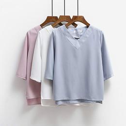 Vestiti coreani di lavoro per le donne online-2017 Tops scollo a V camicetta chiffona Shirt donne di estate signore dell'ufficio piano di lavoro Abbigliamento coreano più il formato S-XL Bianco Blu Rosa