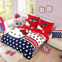 Wholesale Reactive Print Bedding - Wholesale- Reactive Printing Hello Kitty Kids Adults Bedding Sets Quilt Cover Flat Sheet Pillowcase Purpel19 Colors BedSets Queen Full Twin