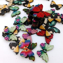 Wholesale Wholesale Flat Wood Beads - High Quality 50 Pieces Lot Butterfly Shape Wooden Buttons Beads Jewelry Making Accessories Shirt Clothes Supplies Kid DIY Art Be