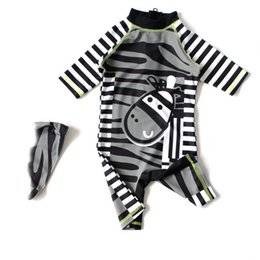 Wholesale Boys Swimwear One Piece - baby swim suits Cartoon Stripe Boys swimwear New 2017 Zebra Sun Protection Kids Beach Swimming Short Sleeves Swimsuit Kids C723