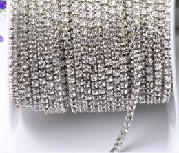 Wholesale Crystal Ss18 - 10yards roll clear crystal SS8-SS18(2.5mm-4.5mm) silver gold base Rhinestone Chain apparel Sewing style diy beauty accessories