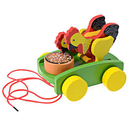 Wholesale Toddler Toys Cars Wholesale - Wholesale-1Pcs Children Wooden Cock Pecking Rice Toy Kids Table Playing Pull Car Animal Toy Early Educational Toddler Toy K5BO