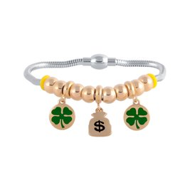 Wholesale Big Dog Chains - New Stainless Steel Four Leaf Clover Cute EMOJI Big Hole Beads DIY Dog Paw Print $ Lovers Hand String Beads Bracelets For Girlfriend's Gift