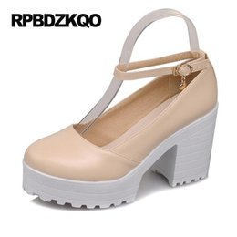 Wholesale Cheap Nude Pumps - Big Size Modern Ankle Strap 4 34 2017 11 43 Nude Platform Heels Pumps Thick 10 42 High Cheap Women Round Toe Discount Black New