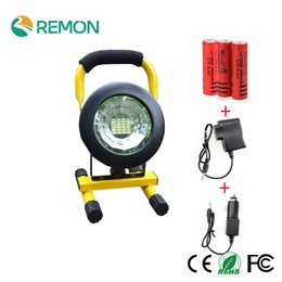 Wholesale Portable Rechargeable Spotlight - Wholesale- LED Portable Spotlight Rechargeable 24led 5730 LED Floodlight Movable Outdoor Camping Light + 3*18650 Battery + Charger