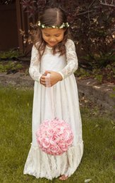 Wholesale Cheap Flower Girls Dresses Sale - 2017 Vintage Princess A Line Lace Flower Girl Dress Sheer Jewel Neck Long Sleeves Cute Floor Length Back Bow Cheap Hot Sale Christmas Dress