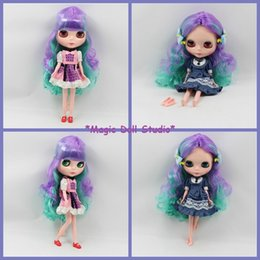 Wholesale Dolls Bjd For Sale - [NBL009] 2015 Hot Sale Free Shipping Nude Blyth Doll # Blue and Purple Color Mixed Curly Hair Blyth Doll Neo Doll for Retail