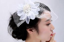 Wholesale Elegant European Hats - European Style Veil Bride's Head Accessories Wedding Fascinator Elegant Grenadine Linen Hat Handmade Wedding Decorate Net Yarn Tire
