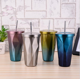 Wholesale Wholesale Steel Double Tea Cup - Double Wall Stainless Steel Mug With Straw Flexible Cups Coffee Cup gradient color steel insulation coffee cups Tea Cup KKA2909