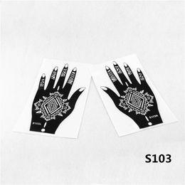 Wholesale Indian Stickers - Wholesale-12pcs Henna Stencil Mehndi Arabic Indian Style Temporary Hand Tattoo Body Art Sticker - reusable